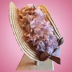 Beautiful Vintage Straw Doll Bonnet