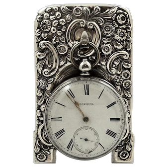 Antique Victorian Sterling Silver Pocket Watch Dispaly Stand 1898