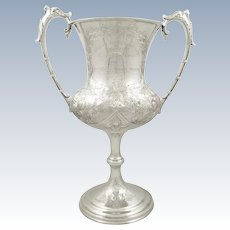 Tall Antique Victorian Sterling Silver 'Coursing' Trophy Cup 1888