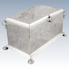 Antique Victorian Sterling Silver Desk Top Box / Jewellery Casket 1890
