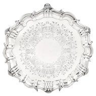 "Antique Victorian Sterling Silver 8"" Tray / Salver 1866"