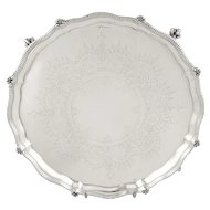 "Antique Victorian Sterling Silver 8"" Tray / Salver 1877"