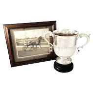"Antique Sterling Silver 10"" Trophy Cup with Photo - London Trotting Cup"