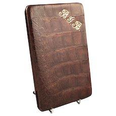 Antique Genuine Crocodile Leather Wallet / Card Case c1900