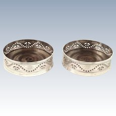 Pair of Antique William IV Sterling Silver Wine / Champagne Coasters 1835