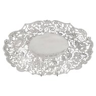 """Antique Victorian Sterling Silver 10"""" Pierced Dish 1896"""