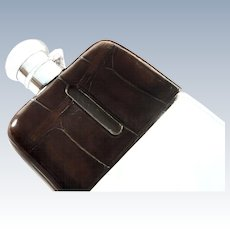 Antique Crocodile Leather & Silver Plated Hip Flask with Cup c1900