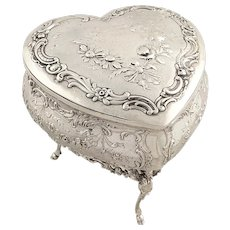 Antique Victorian Sterling Silver Heart Trinket Box 1897