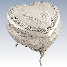 Antique Victorian Sterling Silver Heart Trinket Box 1897