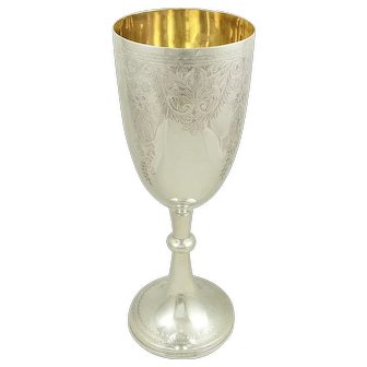 "Antique Victorian Sterling Silver 10 1/2"" Wine Goblet 1894"