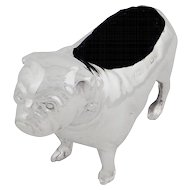 Antique Edwardian Sterling Silver Bulldog Pug / Pin Cushion 1906