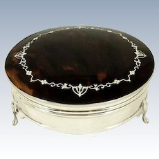 Antique Sterling Silver & Tortoiseshell Trinket Box 1914