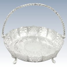 Antique Victorian Sterling Silver Basket / Dish with Swing Handle 1856