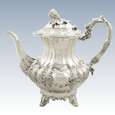 Antique Early Victorian Sterling Silver Coffee Pot 1839 - 1005 grams