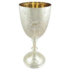 """Huge Antique Victorian Sterling Silver 12"""" Goblet / Trophy 1900"""