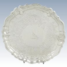 """Antique Georgian Sterling Silver 6"""" Tray with Bird Crest 1737"""