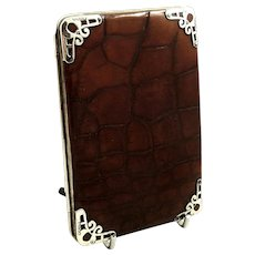 Antique Genuine Crocodile Leather & Sterling Silver  Wallet / Card Case 1901