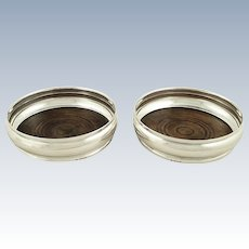 """Pair of Vintage Sterling Silver 5"""" Wine/Champagne Coasters 1965"""