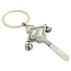Antique Sterling Silver 'BABY' Baby Rattle 1927