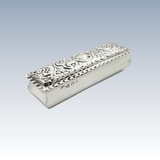 Antique Edwardian Sterling Silver Ring Box 1904
