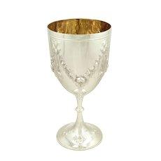 "Antique Victorian Sterling Silver 9"" Wine Goblet 1871"
