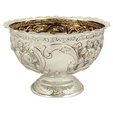 """Antique Victorian Sterling Silver 8"""" Bowl 1900"""