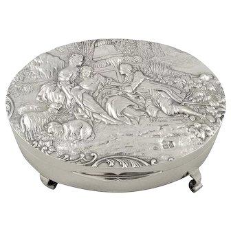Large Antique Victorian Sterling Silver Trinket Box 1899