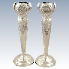 """Pair of Antique Edwardian Sterling Silver 10"""" Vases 1905"""
