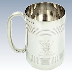 Antique Victorian Sterling Silver Pint Mug / Tankard 1898 - Disley Golf Club