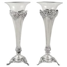 """Pair of Antique Victorian Sterling Silver 7"""" Vases 1895/6"""
