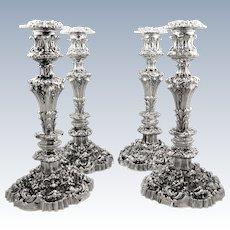"""Set 4 Antique William IV Sterling Silver 13"""" Candlesticks 1832"""