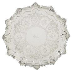 """Antique Victorian Sterling Silver 10"""" Tray / Salver 1858"""