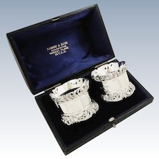 Pair of Antique Edwardian Sterling Silver Napkin Rings in Case 1902