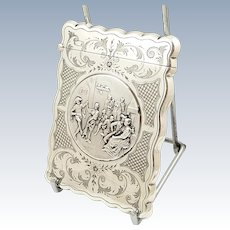 Antique Edwardian Sterling Silver Card Case with Dancing Tavern Scene 1908