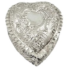 Antique Victorian Sterling Silver Heart Shape Trinket Box 1900