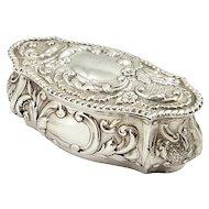 Antique Edwardian Sterling Silver Trinket Box 1905