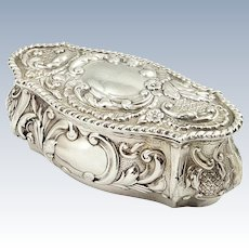 Antique Edwardian Sterling Silver Trinket Box 1905