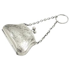 Beautiful Antique Sterling Silver Purse 1915