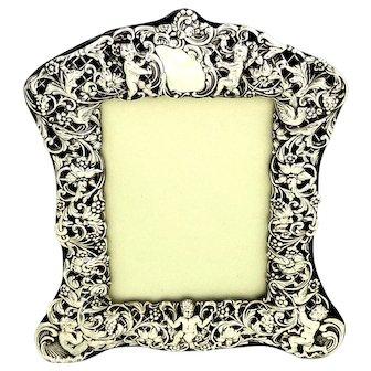 "Antique Victorian Sterling Silver 8"" Cherub Photo Frame 1898"