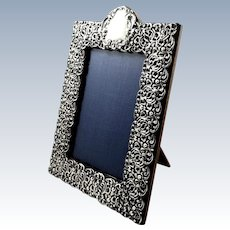 "Antique Edwardian Sterling Silver 11"" x 8"" Photo Frame 1901"