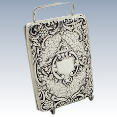 Antique Victorian Sterling Silver Card Case / Aide Memoire 1898