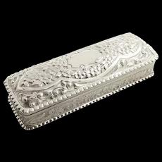 "Antique Victorian Sterling Silver 5 1/2"" Trinket Box 1889"