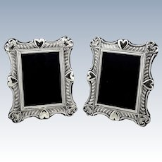 Pair of Antique Sterling Silver Heart Photo Frames 1901