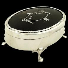 "Antique Sterling Silver & Tortoiseshell 5"" Trinket Box 1919"