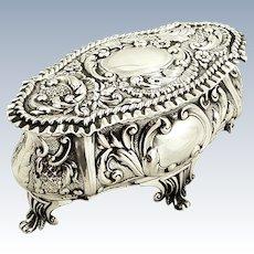 Antique Edwardian Sterling Silver Trinket Box 1902