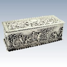 Antique Sterling Silver Trinket Box with Cherub Scenes 1901