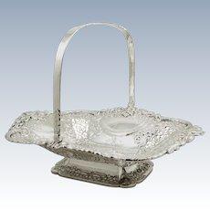 "Heavy Antique Edwardian Sterling Silver 12"" Basket 1905 - 1145g"
