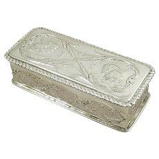 Antique Victorian Sterling Silver 'Angels' Trinket Box 1897