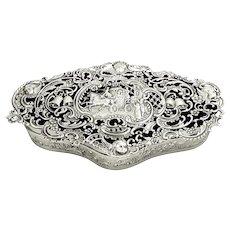 "Large Antique Edwardian Sterling Silver 7 1/2"" Wedding Box 1907"