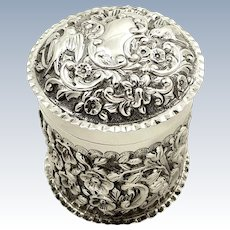 Antique Sterling Silver Vanity Pot with Birds 1901